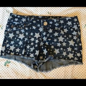 Celebrity Pink Star Print Cut Off Style Shorts